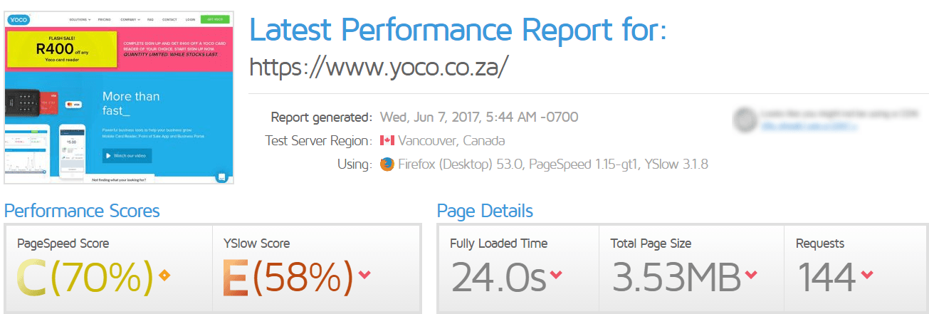 Yoco Website speed score GTmetrix