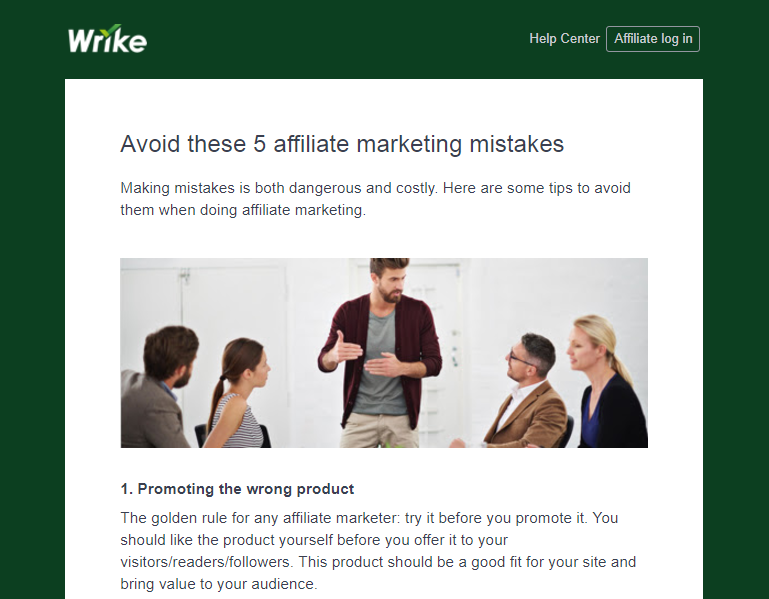 Wrike affiliate marketing tips