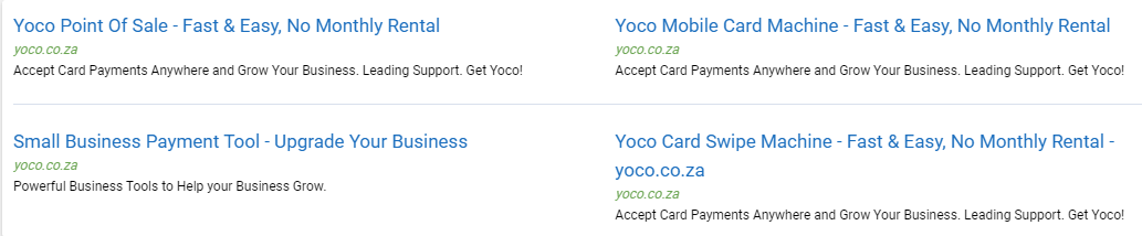 Fintech company Yoco Adwords Ads examples