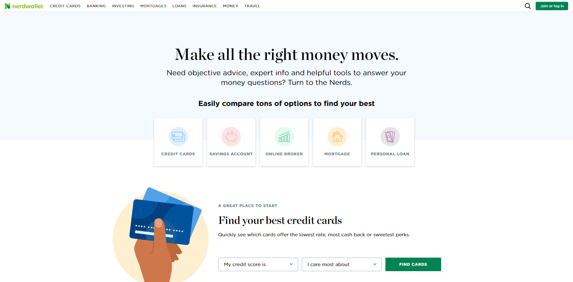 Nerdwallet homepage August 2019
